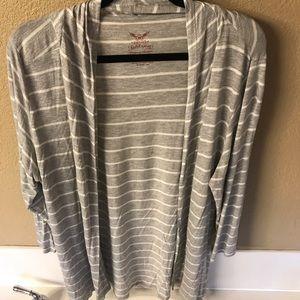 Gray & White Striped Sleep Cardigan